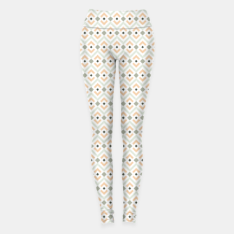 Miniatur Coral and Teal Aztec Geometric Pattern Leggings, Live Heroes