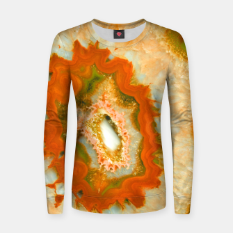 Orange Green Agate #1 #gem #decor #art  Frauen sweatshirt obraz miniatury