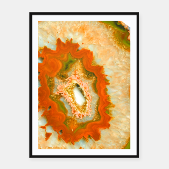 Orange Green Agate #1 #gem #decor #art  Plakat mit rahmen obraz miniatury