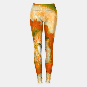 Orange Green Agate #1 #gem #decor #art  Leggings obraz miniatury