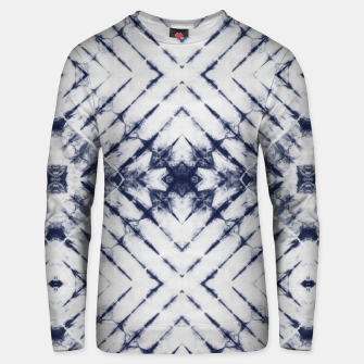 Dark Blue and White Summer Tie Dye Batik Wax Tie Die Print Unisex sweater imagen en miniatura