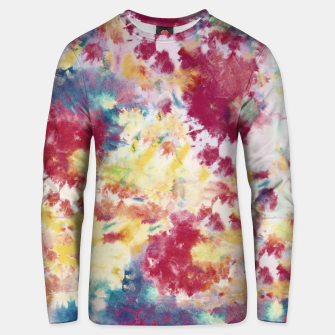 Red, Blue and Yellow Summer Tie Dye Batik Wax Tie Die Print Unisex sweater imagen en miniatura