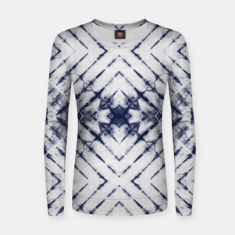 Dark Blue and White Summer Tie Dye Batik Wax Tie Die Print Women sweater imagen en miniatura