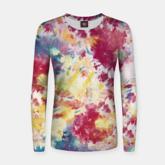 Red, Blue and Yellow Summer Tie Dye Batik Wax Tie Die Print Women sweater imagen en miniatura