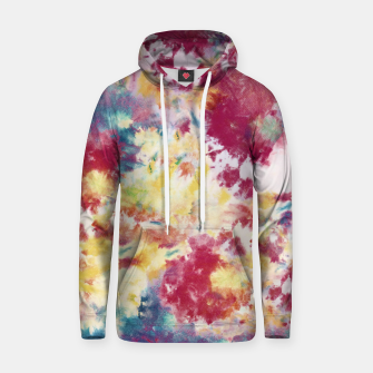 Miniatur Red, Blue and Yellow Summer Tie Dye Batik Wax Tie Die Print Hoodie, Live Heroes