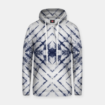 Dark Blue and White Summer Tie Dye Batik Wax Tie Die Print Hoodie Bild der Miniatur