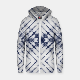 Dark Blue and White Summer Tie Dye Batik Wax Tie Die Print Zip up hoodie imagen en miniatura