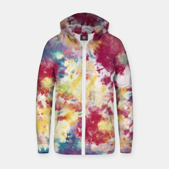 Miniatur Red, Blue and Yellow Summer Tie Dye Batik Wax Tie Die Print Zip up hoodie, Live Heroes
