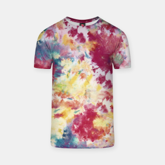 Red, Blue and Yellow Summer Tie Dye Batik Wax Tie Die Print T-shirt imagen en miniatura