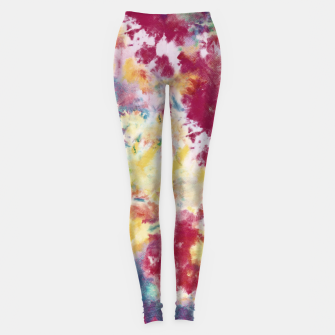 Miniatur Red, Blue and Yellow Summer Tie Dye Batik Wax Tie Die Print Leggings, Live Heroes