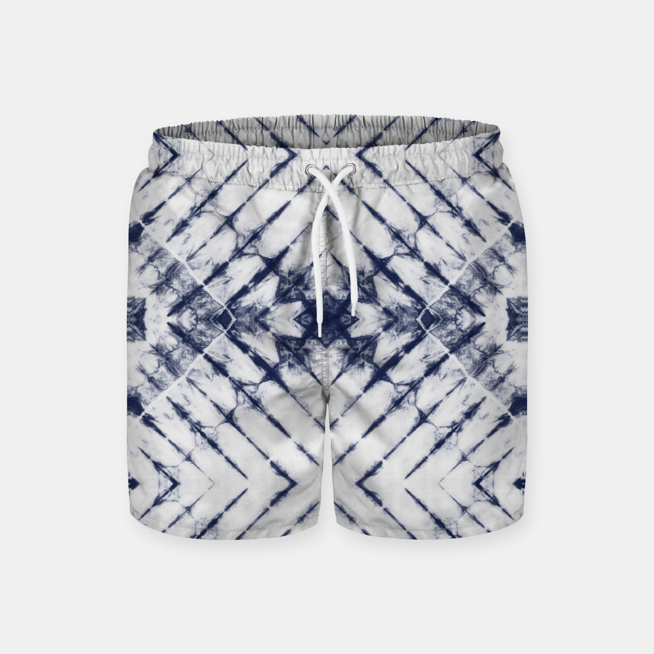 Imagen de Dark Blue and White Summer Tie Dye Batik Wax Tie Die Print Swim Shorts - Live Heroes