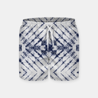 Miniatur Dark Blue and White Summer Tie Dye Batik Wax Tie Die Print Swim Shorts, Live Heroes