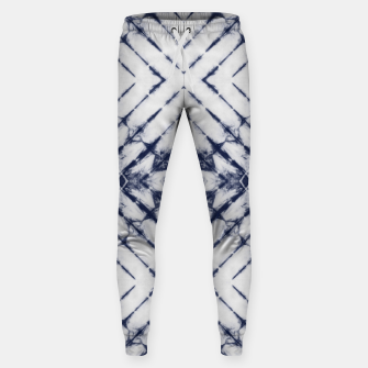 Miniatur Dark Blue and White Summer Tie Dye Batik Wax Tie Die Print Sweatpants, Live Heroes