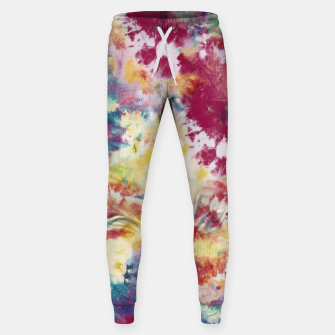 Miniatur Red, Blue and Yellow Summer Tie Dye Batik Wax Tie Die Print Sweatpants, Live Heroes