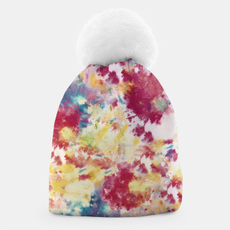 Red, Blue and Yellow Summer Tie Dye Batik Wax Tie Die Print Beanie imagen en miniatura