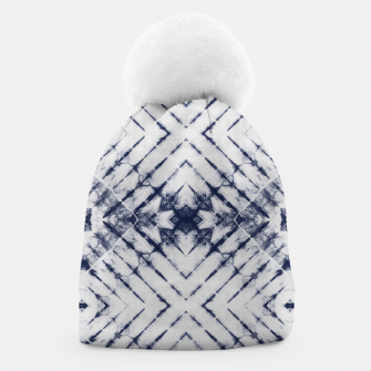 Dark Blue and White Summer Tie Dye Batik Wax Tie Die Print Beanie imagen en miniatura