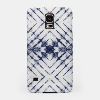 Miniatur Dark Blue and White Summer Tie Dye Batik Wax Tie Die Print Samsung Case, Live Heroes