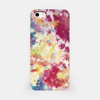 Red, Blue and Yellow Summer Tie Dye Batik Wax Tie Die Print iPhone Case imagen en miniatura