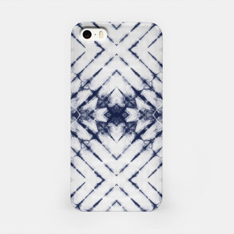 Dark Blue and White Summer Tie Dye Batik Wax Tie Die Print iPhone Case imagen en miniatura