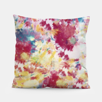 Red, Blue and Yellow Summer Tie Dye Batik Wax Tie Die Print Pillow imagen en miniatura