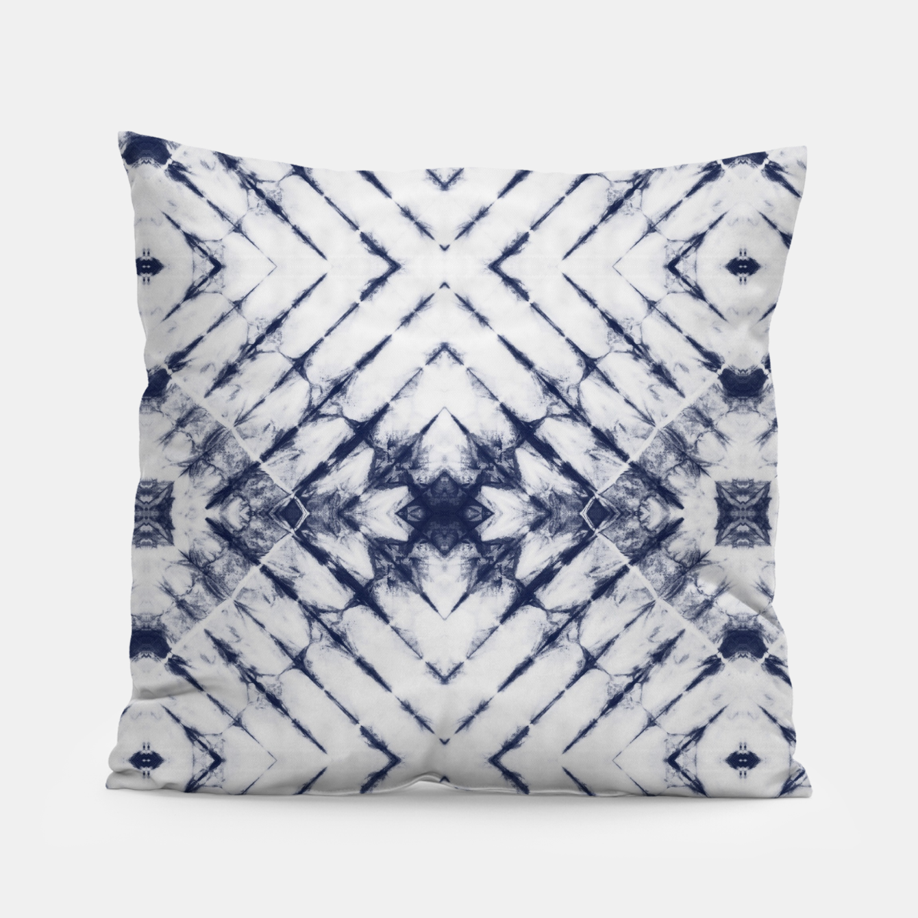Imagen de Dark Blue and White Summer Tie Dye Batik Wax Tie Die Print Pillow - Live Heroes