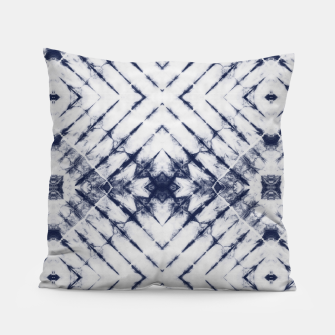 Dark Blue and White Summer Tie Dye Batik Wax Tie Die Print Pillow imagen en miniatura