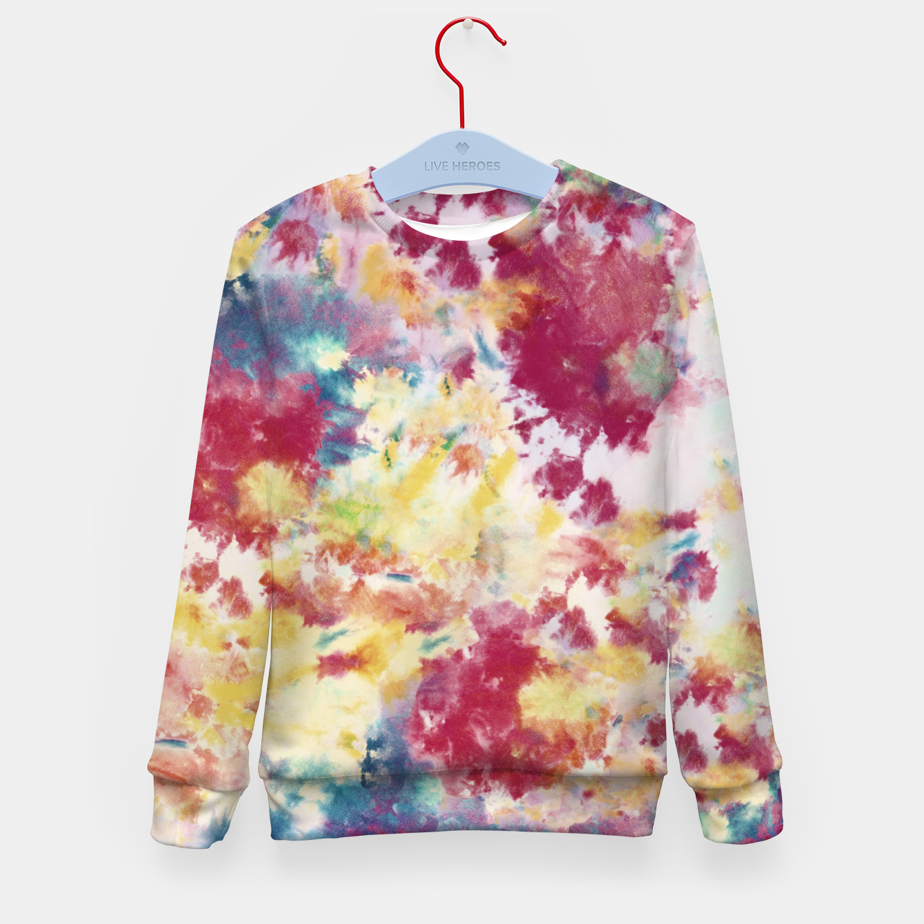 Imagen de Red, Blue and Yellow Summer Tie Dye Batik Wax Tie Die Print Kid's sweater - Live Heroes