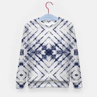 Miniatur Dark Blue and White Summer Tie Dye Batik Wax Tie Die Print Kid's sweater, Live Heroes