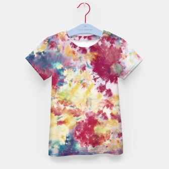 Red, Blue and Yellow Summer Tie Dye Batik Wax Tie Die Print Kid's t-shirt imagen en miniatura