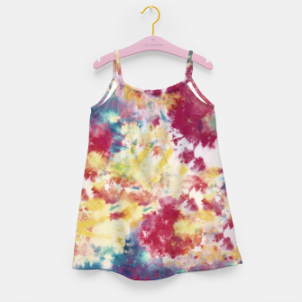 Red, Blue and Yellow Summer Tie Dye Batik Wax Tie Die Print Girl's dress imagen en miniatura