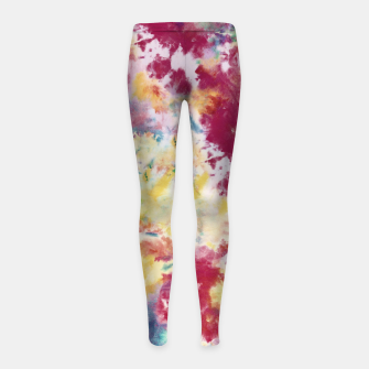 Thumbnail image of Red, Blue and Yellow Summer Tie Dye Batik Wax Tie Die Print Girl's leggings, Live Heroes