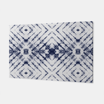 Dark Blue and White Summer Tie Dye Batik Wax Tie Die Print Canvas imagen en miniatura