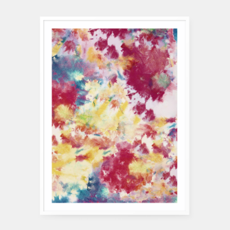 Red, Blue and Yellow Summer Tie Dye Batik Wax Tie Die Print Framed poster imagen en miniatura