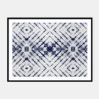 Dark Blue and White Summer Tie Dye Batik Wax Tie Die Print Framed poster imagen en miniatura