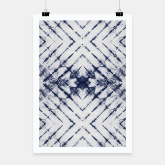 Dark Blue and White Summer Tie Dye Batik Wax Tie Die Print Poster imagen en miniatura
