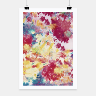 Red, Blue and Yellow Summer Tie Dye Batik Wax Tie Die Print Poster imagen en miniatura