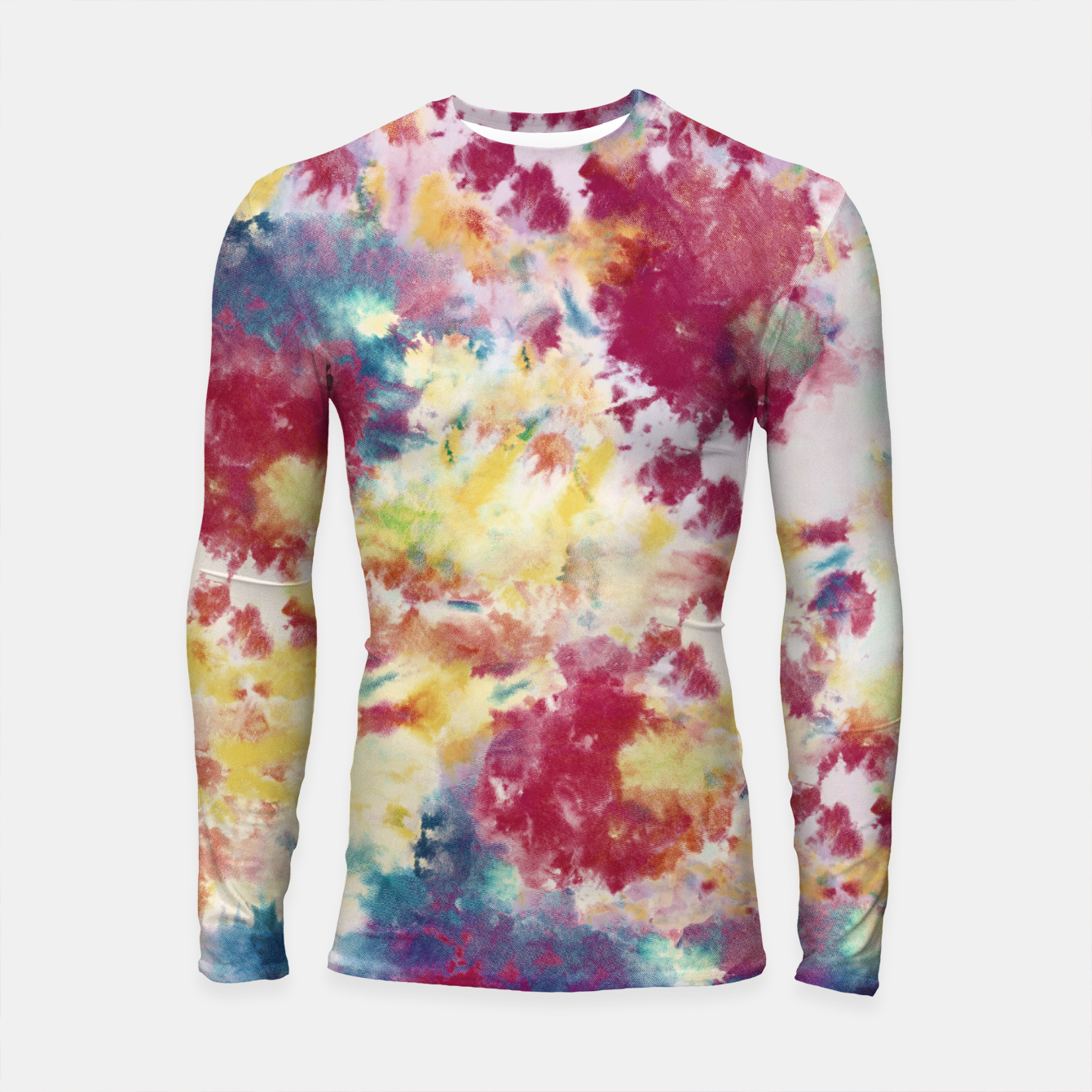 Imagen de Red, Blue and Yellow Summer Tie Dye Batik Wax Tie Die Print Longsleeve rashguard  - Live Heroes