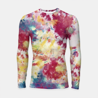 Red, Blue and Yellow Summer Tie Dye Batik Wax Tie Die Print Longsleeve rashguard  imagen en miniatura