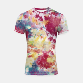 Thumbnail image of Red, Blue and Yellow Summer Tie Dye Batik Wax Tie Die Print Shortsleeve rashguard, Live Heroes