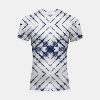 Thumbnail image of Dark Blue and White Summer Tie Dye Batik Wax Tie Die Print Shortsleeve rashguard, Live Heroes