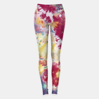 Thumbnail image of Red, Blue and Yellow Summer Tie Dye Batik Wax Tie Die Print Leggings, Live Heroes