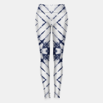 Miniatur Dark Blue and White Summer Tie Dye Batik Wax Tie Die Print Leggings, Live Heroes