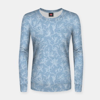 Thumbnail image of Slate Blue Frozen Magnolias  Women sweater, Live Heroes