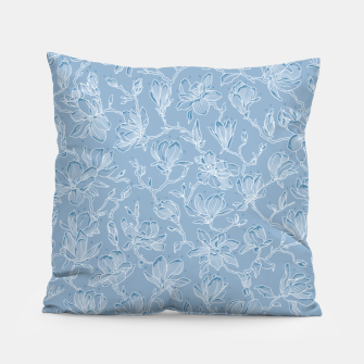 Thumbnail image of Slate Blue Frozen Magnolias  Pillow, Live Heroes