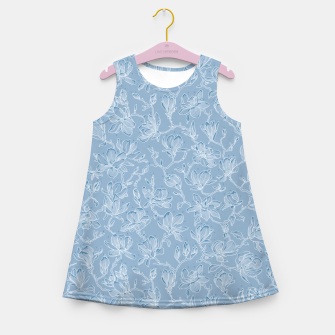 Thumbnail image of Slate Blue Frozen Magnolias  Girl's summer dress, Live Heroes