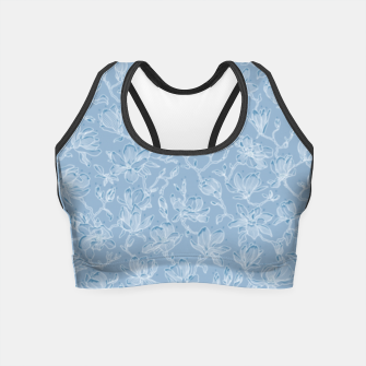 Thumbnail image of Slate Blue Frozen Magnolias  Crop Top, Live Heroes