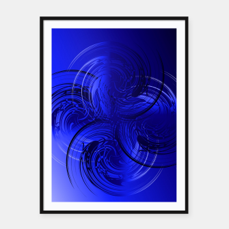 Imagen en miniatura de Abstract powerful chic blue fractal Framed poster, Live Heroes