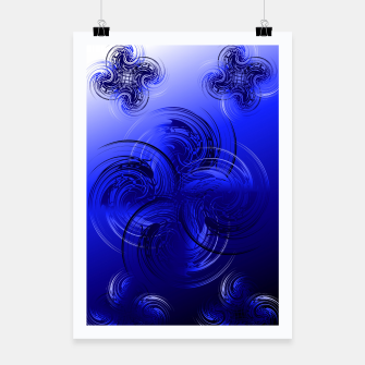 Imagen en miniatura de Abstract powerful chic blue fractal Poster, Live Heroes