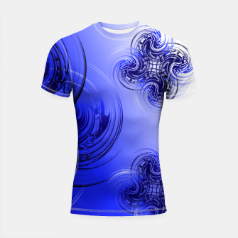 Imagen en miniatura de Abstract powerful chic blue fractal Shortsleeve rashguard, Live Heroes