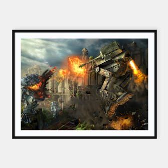 Thumbnail image of Combat robots fight Framed poster, Live Heroes